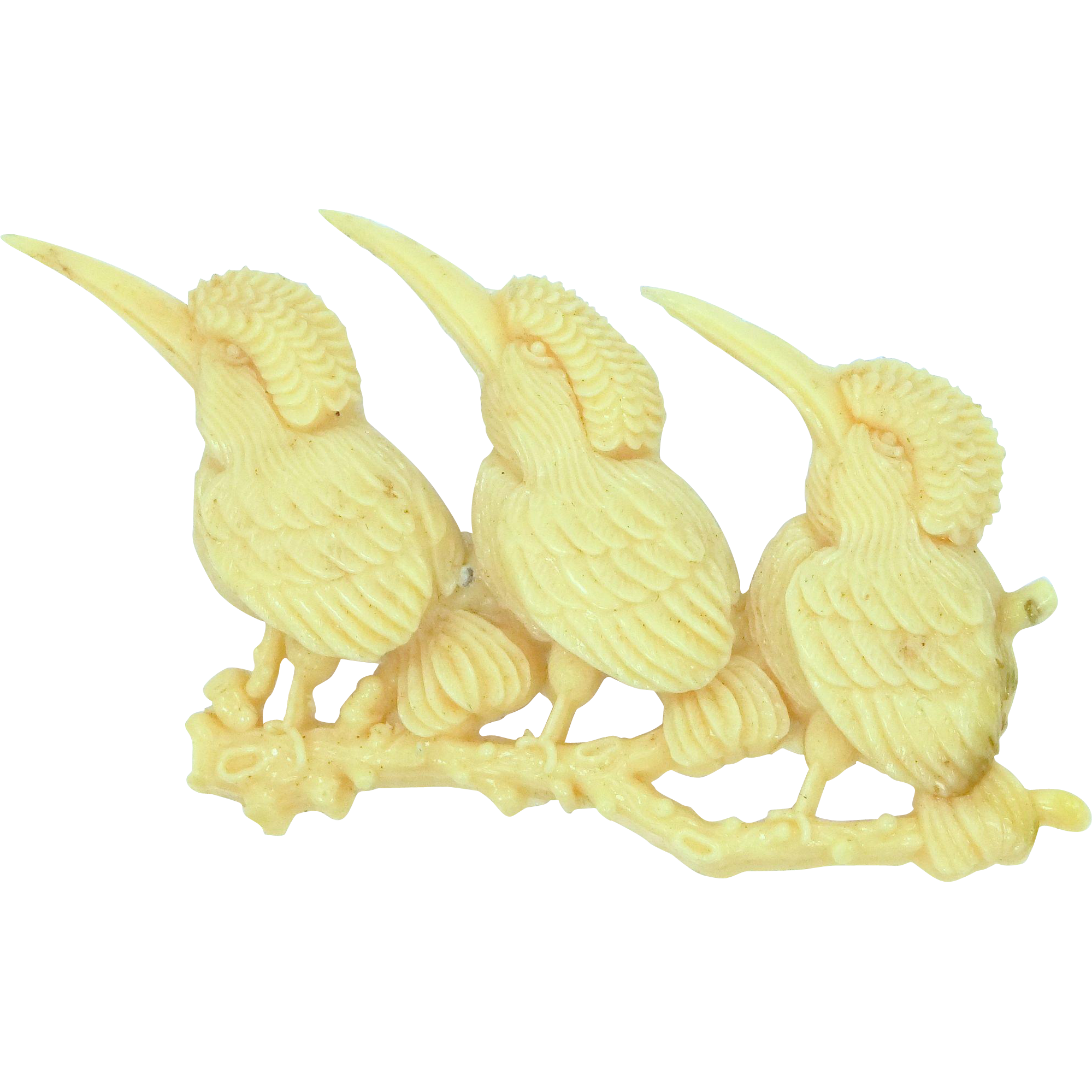 1930's Celluloid Three Birds on a Branch Japan Brooch