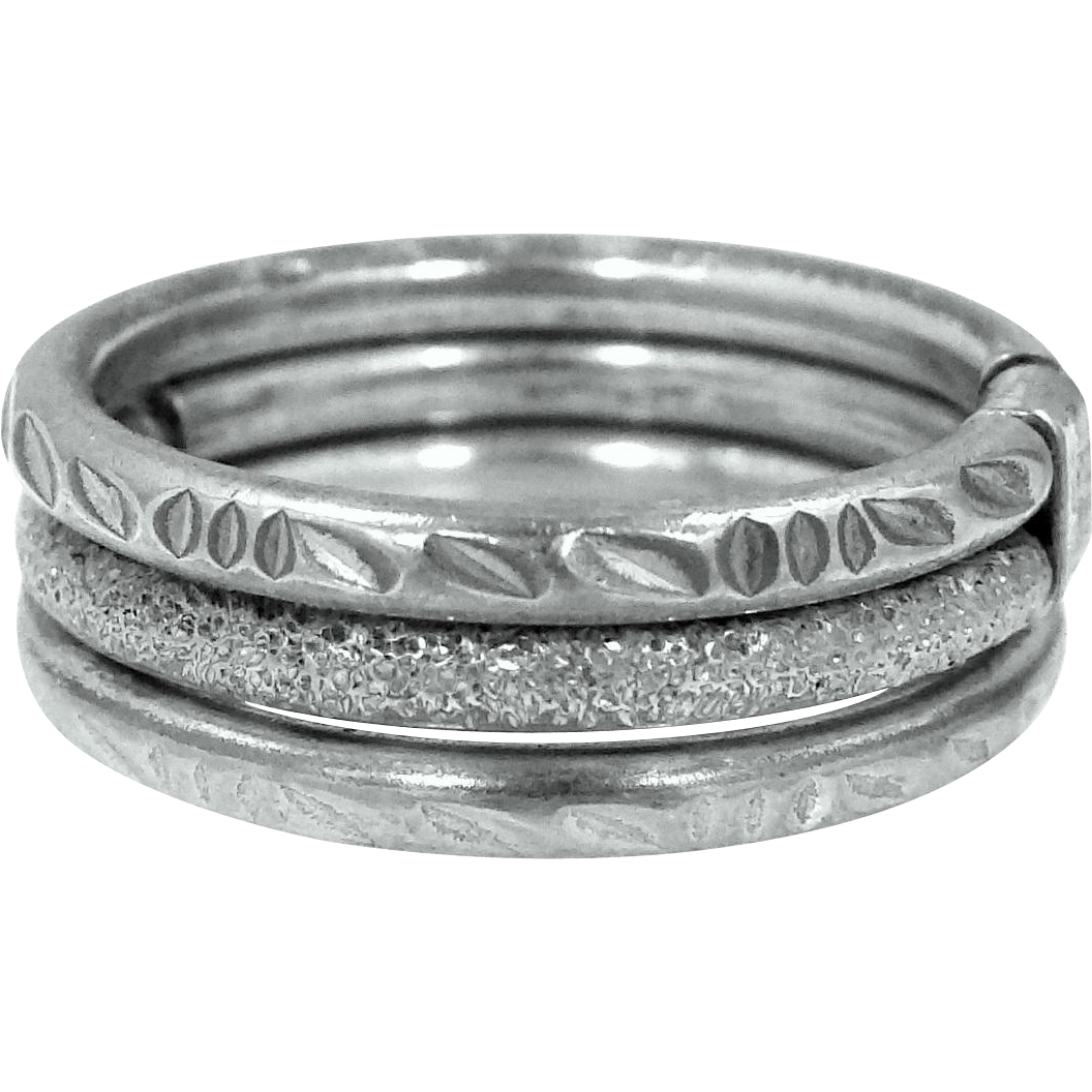 Sterling Silver Triple Ring Three Different Patterns Connected