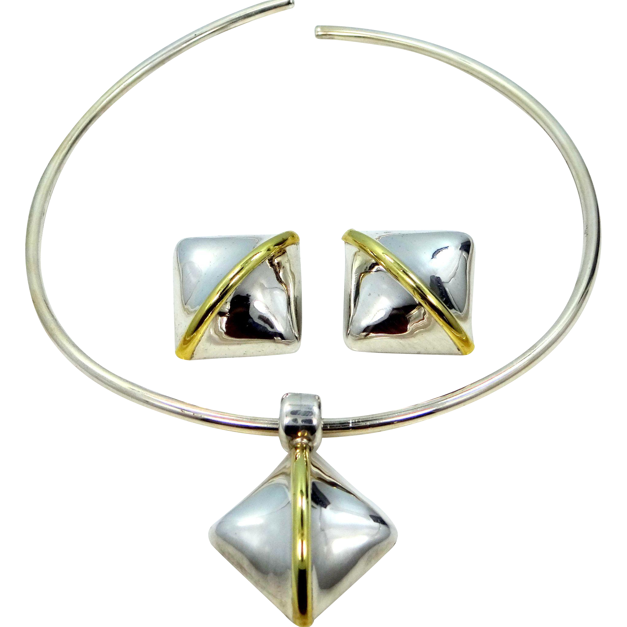 Vintage LATON Sterling Silver Mexico Necklace and Earrings Set