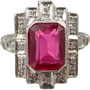 14k White Gold Ruby and Diamond Art Deco Ring