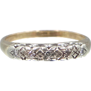 14k White and Yellow Gold 5 Diamond Stacking Ring Wedding Band