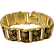 Heavy, Well Made Damascene Flexible Links Bracelet Flowers and Doves
