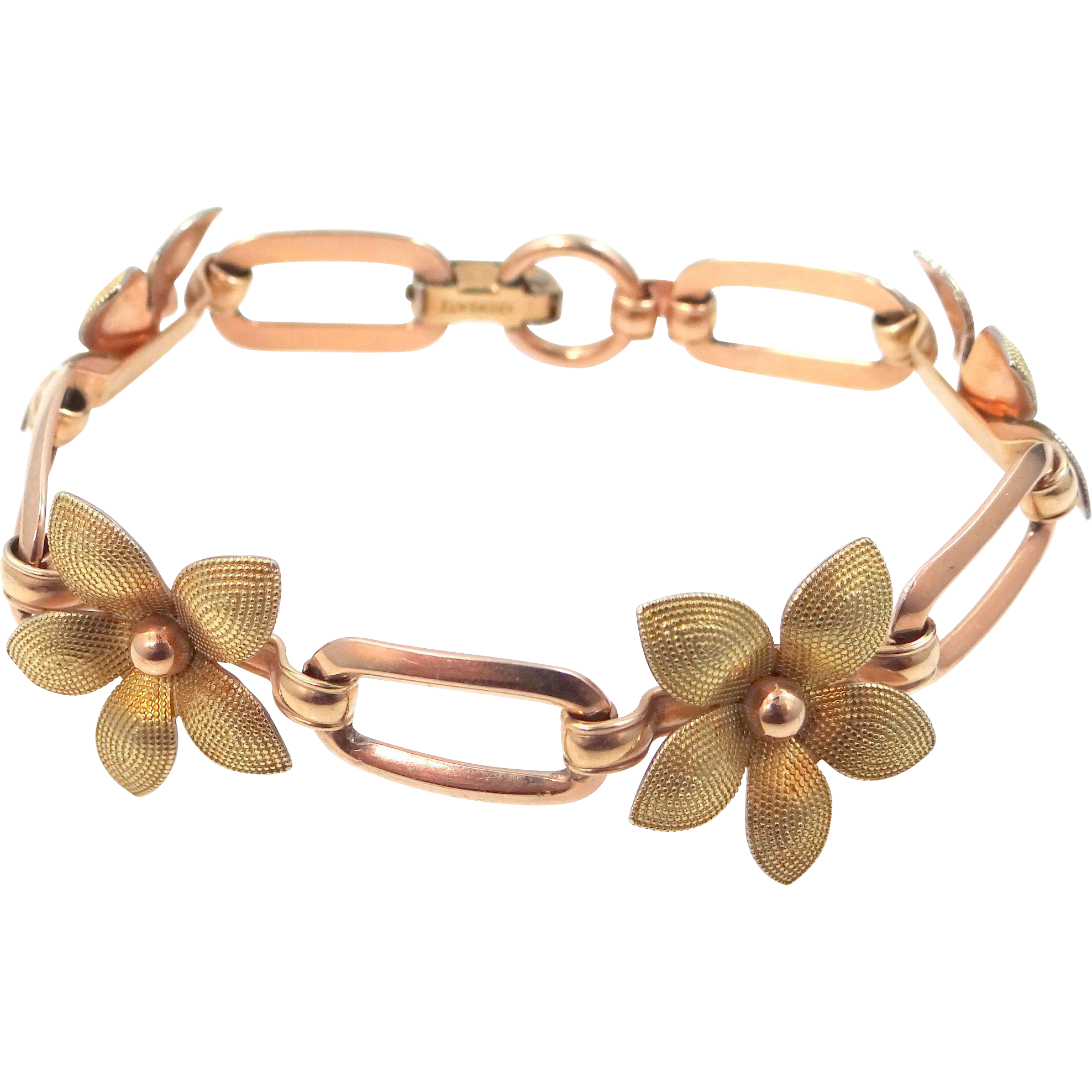 Krementz Retro Rose Gold Tone and Yellow Gold Tone Floral Bracelet