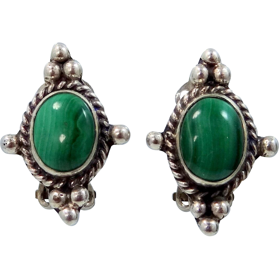 Maria Platero Navajo Sterling Silver and Malachite Clip on Earrings