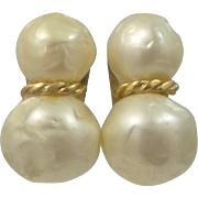 Hattie Carnegie Large Faux Baroque Pearl Clip on Earrings