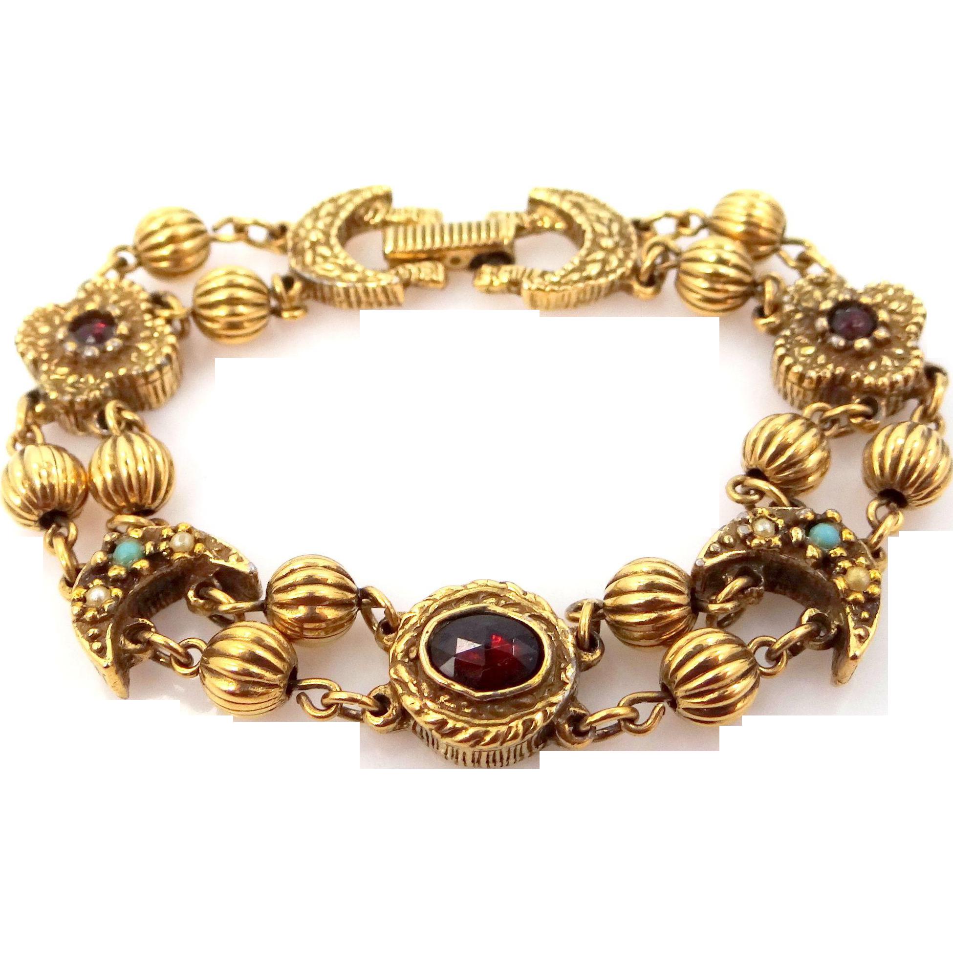 Goldette Faux Seed Pearls, Turquoise and Garnets Slides Bracelet