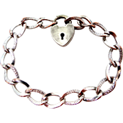 Art Deco Silver Plated Heart Shaped Padlock Clasp Bracelet