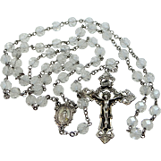 Old Sterling Silver Rock Crystal Rosary with Ornate Crucifix