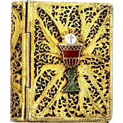 Beautiful 800 Silver Filigree and Enamel Religious Rosary Case