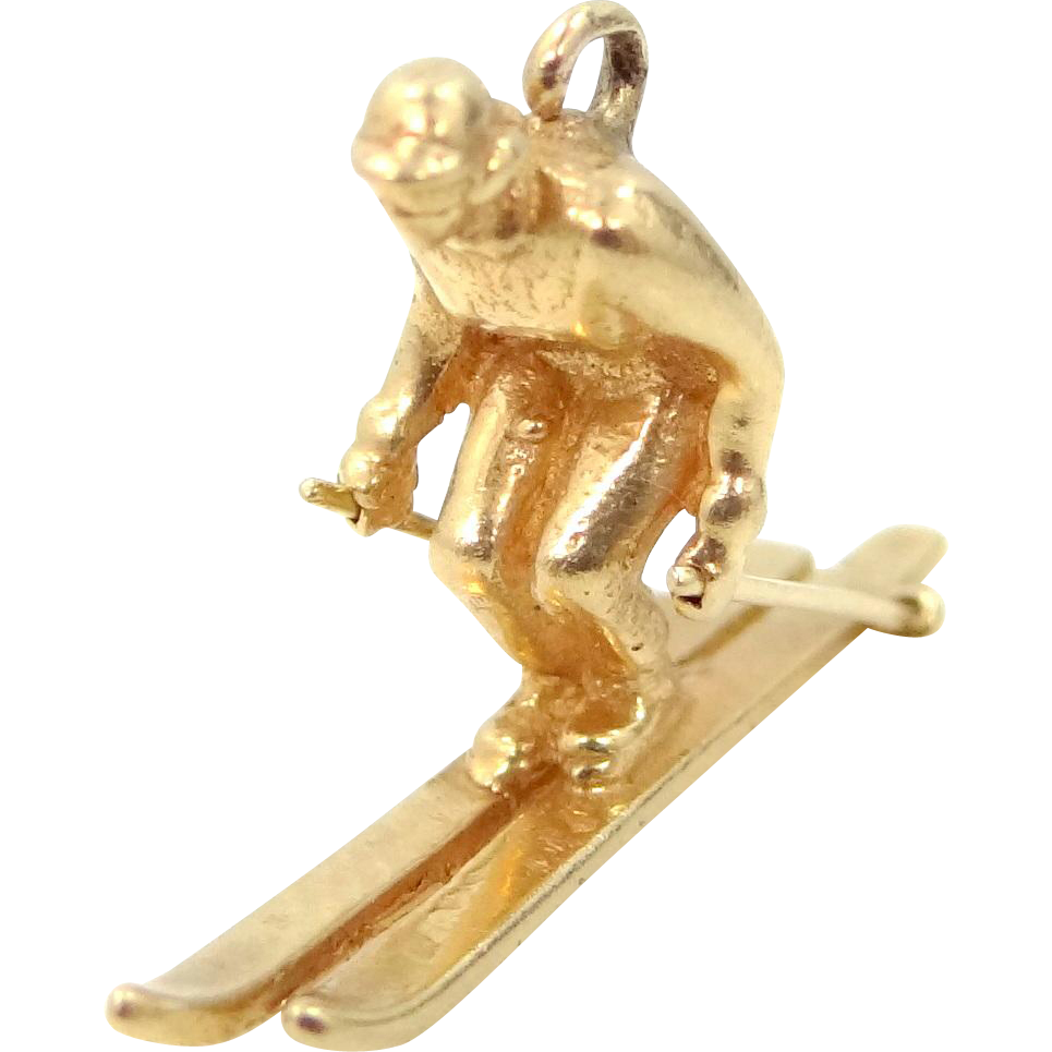 14k Solid Gold Skier Charm Ski Well Detailed with Goggles