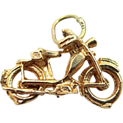 14k Solid Gold Motorcycle Charm Old Fashion
