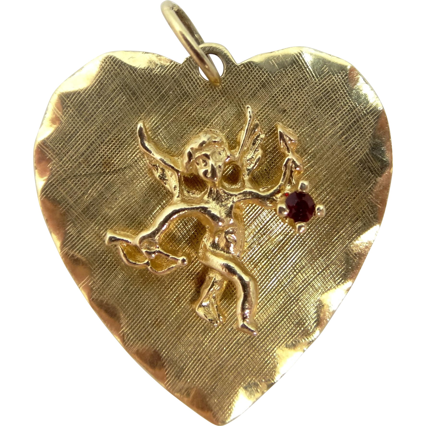 14k Solid Gold Heart Shaped Charm With Cupid & His Bow