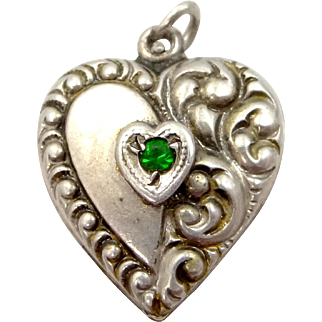Victorian Sterling Silver Puffy Heart Charm