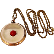 Victorian and Coral Locket with Original Chain