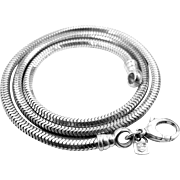 "999 Silver Thick Sterling 20"" Snake Chain"