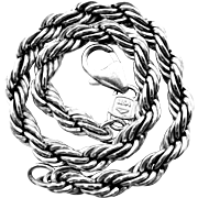 """999 Silver Thick Sterling 8"""" Twisted Rope Braceclet"""