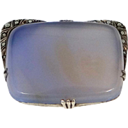 Sterling Silver, Marcasites and Chalcedony Art Deco Pin