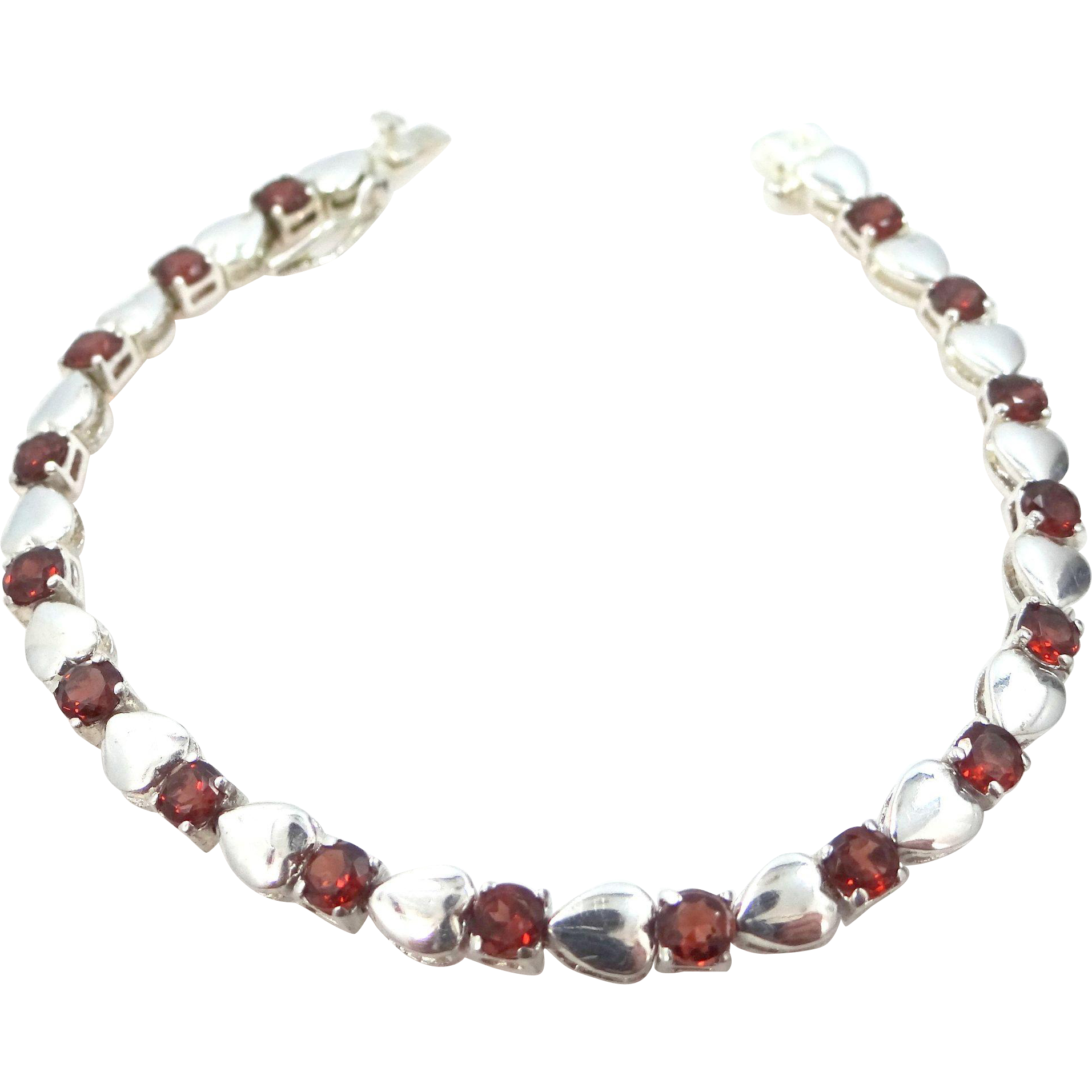 Pretty Sterling Silver and Garnets Tennis Bracelet
