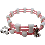 Miriam Haskell With Pink Candy Cane Cylindrical Glass Beads Memory WIre Necklace