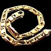 "Unisex 9k Solid Gold Links Bracelet 7 1/2"" Long"
