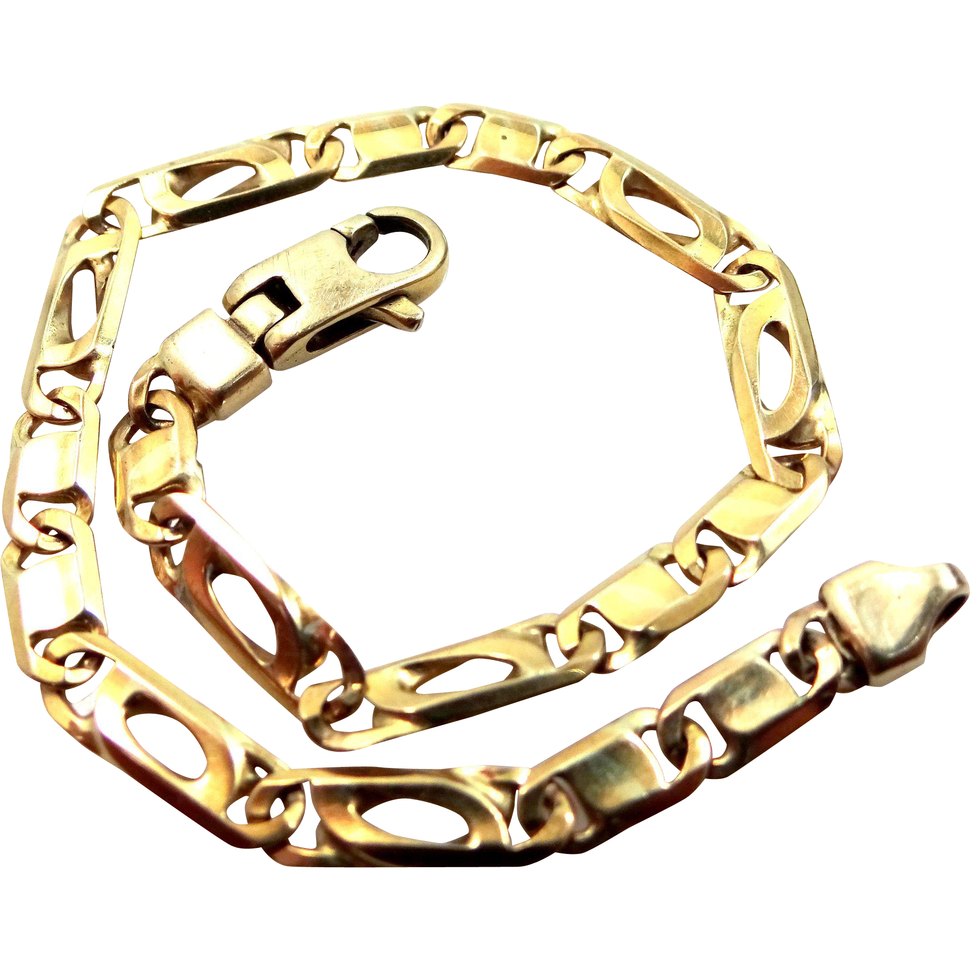 "Unisex 9k Solid Gold Links Bracelet 7 1/2"" Long"