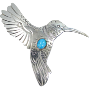 Vintage Sterling Silver and Turquoise Hummingbird Pin HIJE