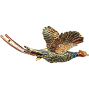 Well Made Enamel and Pave Crystals Figural Pheasant Pin