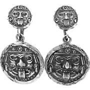 SILMEX Sterling Silver Mexico Evil Face Dangle Earrings Pre Eagle