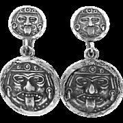 SILMEX Sterling Silver Mexico Evil Face Dangle Earrings Pre Eagle