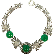 Sterling Silver and Marcasites Green Jade Glass Art Deco Bracelet