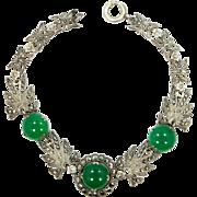 Sterling Silver and Marcasites Green Jade Glass Art Deco Bracelet