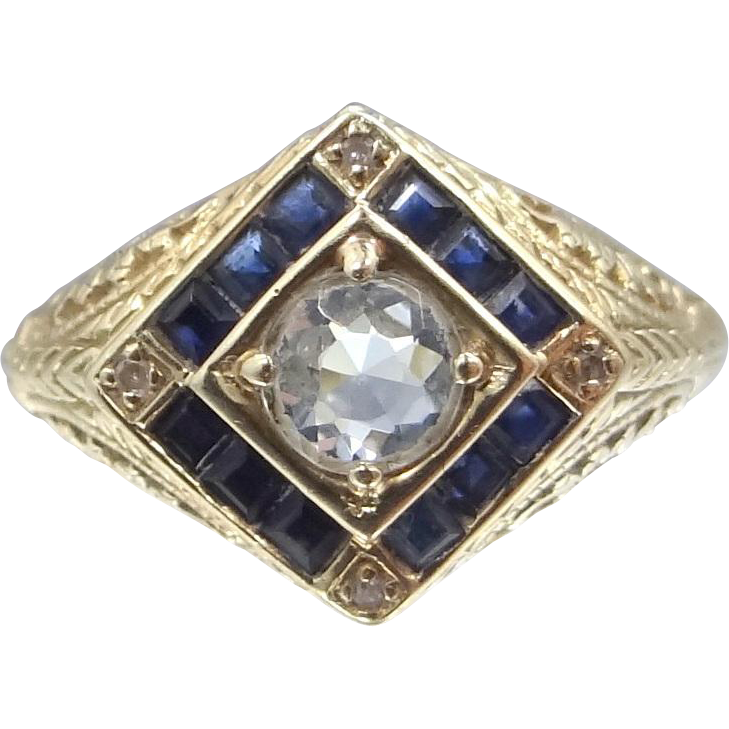14k Yellow Gold Aquamarine, Sapphires and Diamonds Filigree Ring