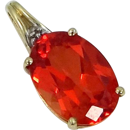 10k Gold Reddish Orange Ruby Pendant