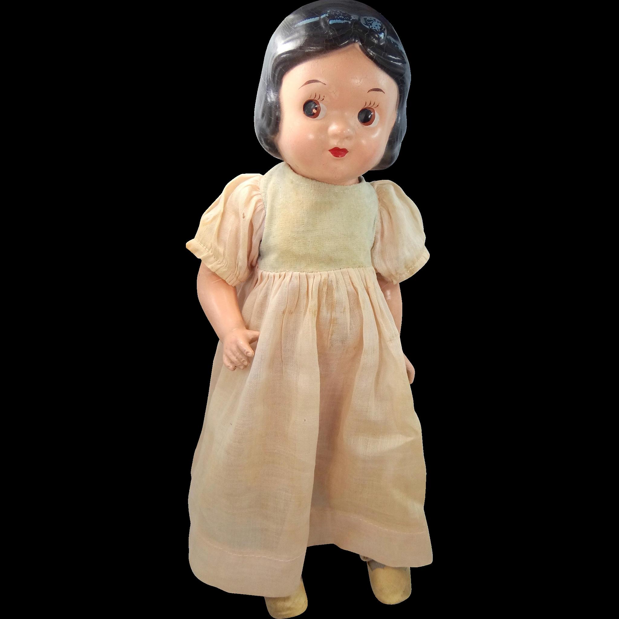 "12"" Knickerbocker Toy Snow White 1930's Composition Doll Walt Disney"