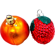 2 Vintage Glass Fruit Christmas Ornaments