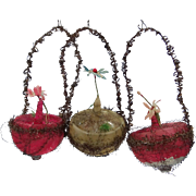 3 Victorian Wired Baskets Christmas Ornaments