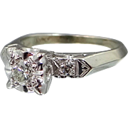 Retro 14k White Gold Diamond Engagement Ring