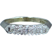 1940's 14k White Gold Diamond Stacking Ring Wedding Band