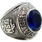 Vintage Sterling Silver USN United States Navy Ring