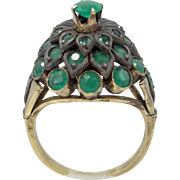1940's 10k Gold and Emeralds Thai Princess Ring