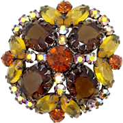 Juliana D & E Multi Pronged Large Topaz Glass Stones Pin