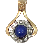10k White & Yellow Gold Diamonds and Star Sapphire Pendant with Ben Franklin