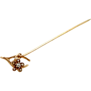 Victorian 10k Gold and Seed Pearls Wishbone & Flower Stick Pin
