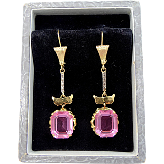 Art Deco Gold Filled Pink Crystals Dangle Earrings