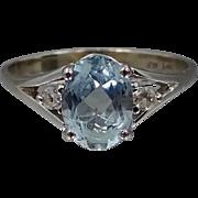 14k White Gold 1 1/4 Carat Aquamarine and Diamonds Lady's Ring