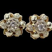 Art Deco 14k White & Yellow Gold Spinel Earrings