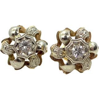 Art Deco 14k White & Yellow Gold Spinel Earrings
