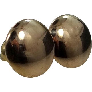 Victorian 14k Gold Disk Stud Earrings