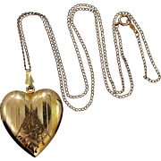 Vintage Gold Fld. Heart Shaped Locket and Chain