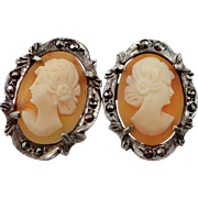 Art Deco Sterling Silver Marcasites and Cameo Stud Earrings